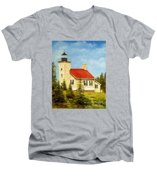 Men's V-Neck T-Shirt featuring the painting Copper Harbor Lighthouse by Lee Piper