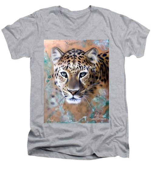 Copper Stealth - Leopard Men's V-Neck T-Shirt