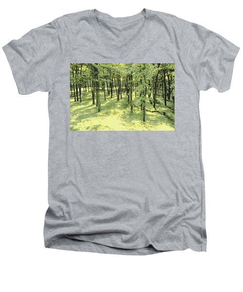 Men's V-Neck T-Shirt featuring the photograph Copse Of Trees Sunlight by Tom Wurl
