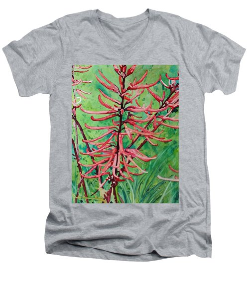Coral Bean Flowers Men's V-Neck T-Shirt