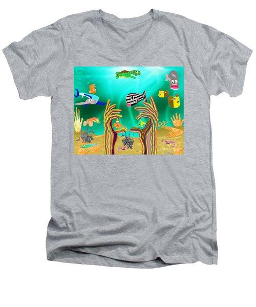 Coral Hands Men's V-Neck T-Shirt