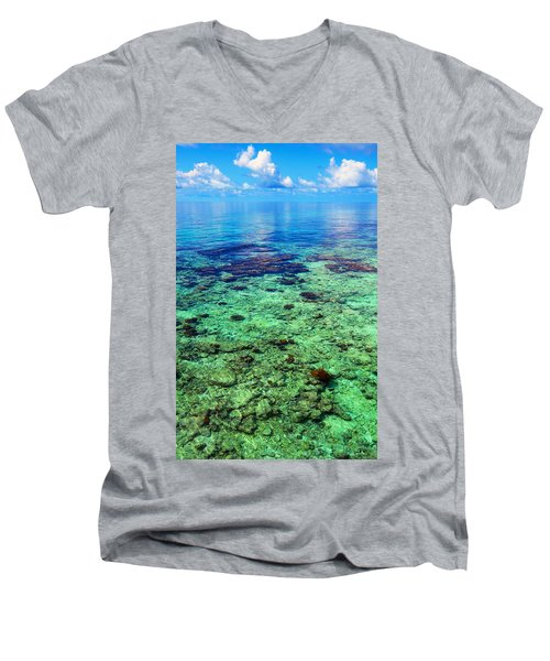 Coral Reef Near The Island At Peaceful Day. Maldives Men's V-Neck T-Shirt