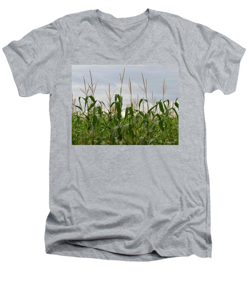 Men's V-Neck T-Shirt featuring the photograph Corn Field by Laurel Powell