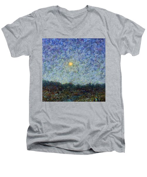 Men's V-Neck T-Shirt featuring the painting Cornbread Moon - Square by James W Johnson
