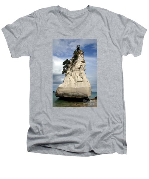 Coromandel Rock Men's V-Neck T-Shirt by Barbie Corbett-Newmin