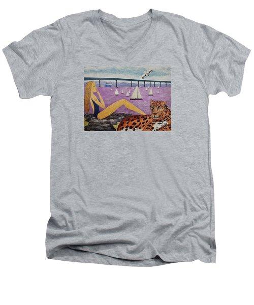 Men's V-Neck T-Shirt featuring the painting Coronado Bridge   San Diego by Jasna Gopic