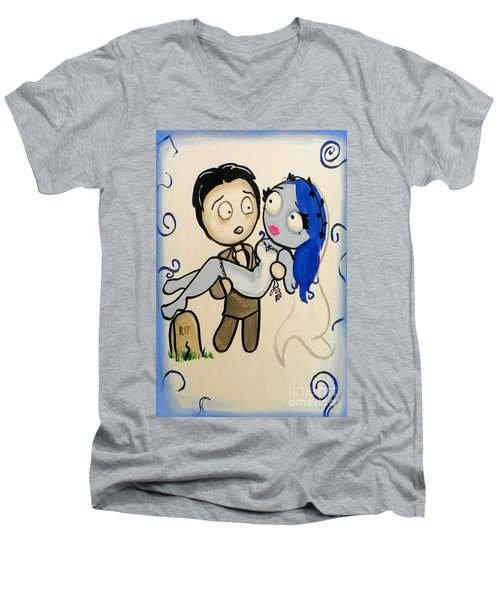 Men's V-Neck T-Shirt featuring the painting Corpse Bride by Marisela Mungia