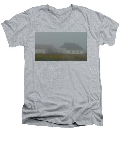 Cottage In Mist Men's V-Neck T-Shirt
