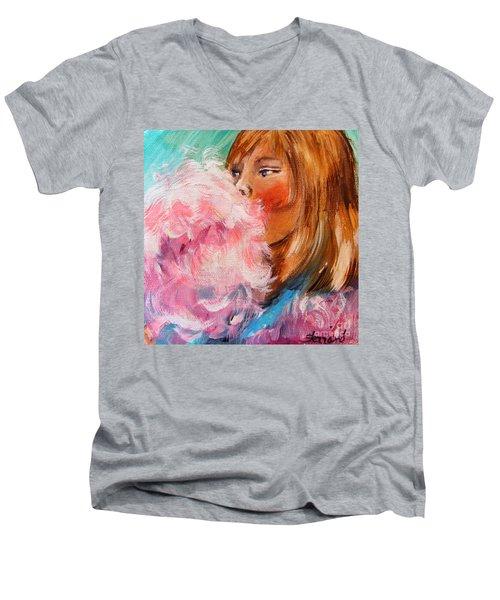 Men's V-Neck T-Shirt featuring the painting Cotton Candy by Karen  Ferrand Carroll