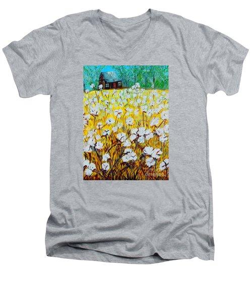 Cotton Fields Back Home Men's V-Neck T-Shirt by Eloise Schneider