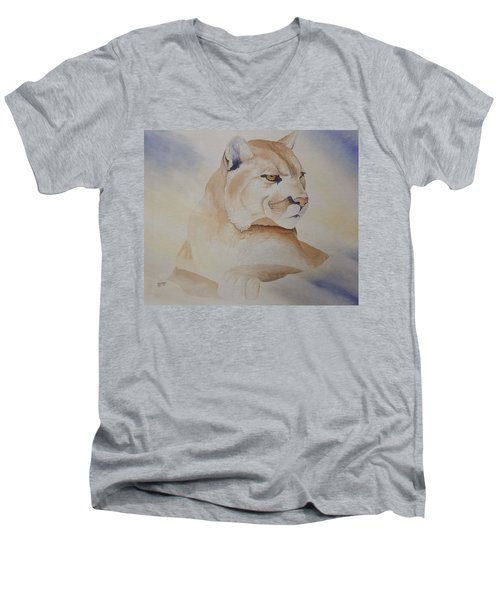 Men's V-Neck T-Shirt featuring the painting Cougar On Watch by Richard Faulkner