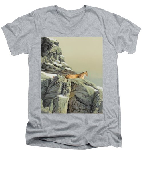 Cougar Perch Men's V-Neck T-Shirt by Jane Girardot