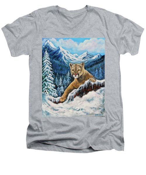 Men's V-Neck T-Shirt featuring the painting Cougar Sedona Red Rocks  by Bob and Nadine Johnston