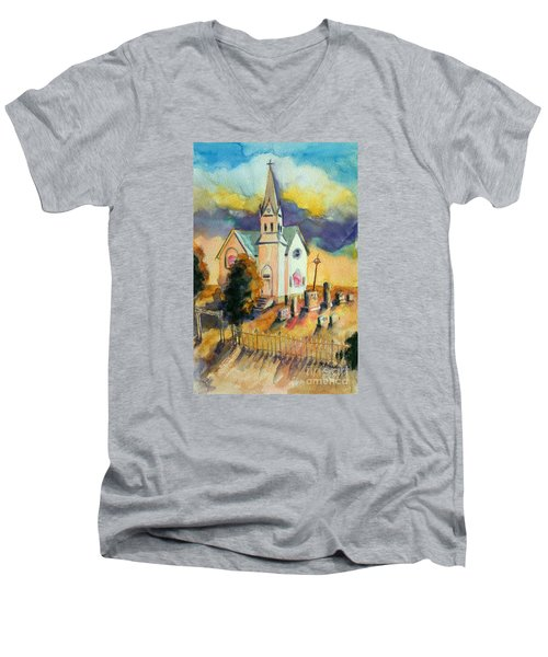 Men's V-Neck T-Shirt featuring the painting Country Church At Sunset by Kathy Braud