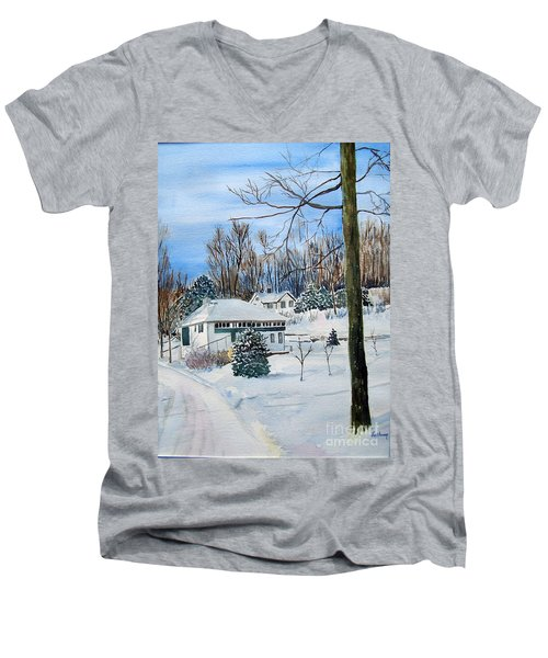 Country Club In Winter Men's V-Neck T-Shirt by Christine Lathrop