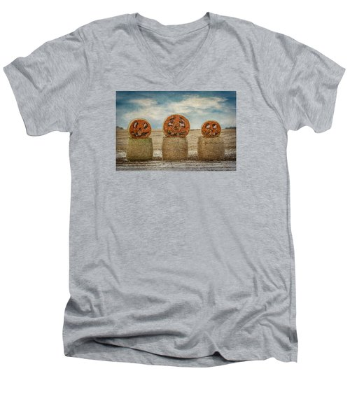 Men's V-Neck T-Shirt featuring the photograph Country Halloween by Patti Deters