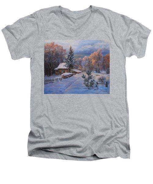 Country House In Winter Men's V-Neck T-Shirt