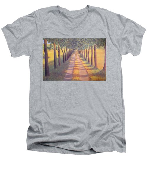 Country Lane Men's V-Neck T-Shirt by Sophia Schmierer
