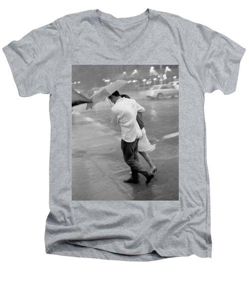 Couple In The Rain Men's V-Neck T-Shirt