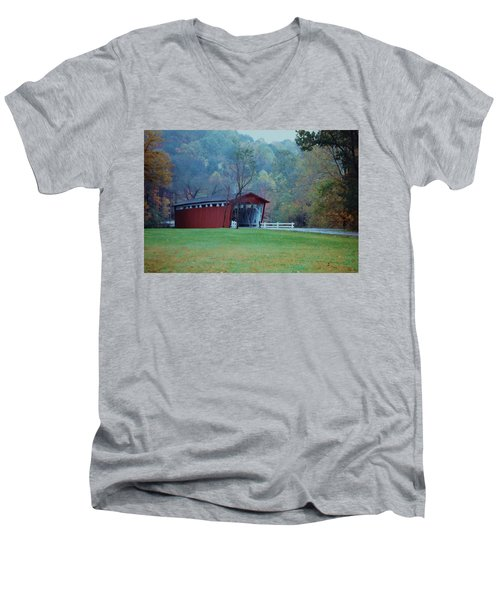 Men's V-Neck T-Shirt featuring the photograph Covered Bridge by Diane Alexander