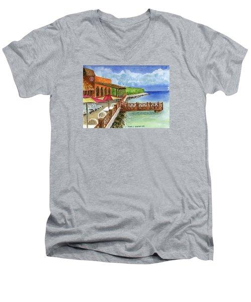 Cozumel Mexico Little Pier Men's V-Neck T-Shirt by Frank Hunter