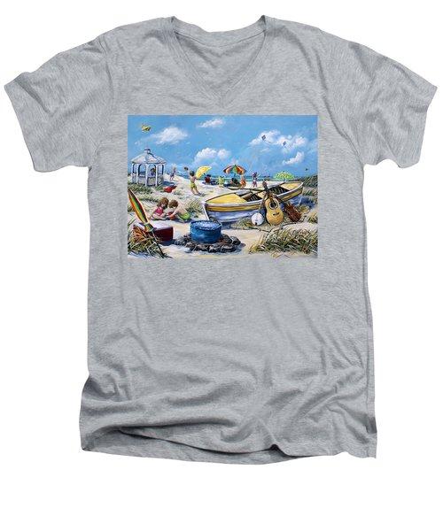 Crab Pickin Men's V-Neck T-Shirt by Gail Butler