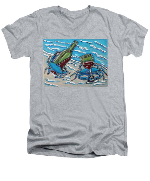Crab Wine Time Men's V-Neck T-Shirt