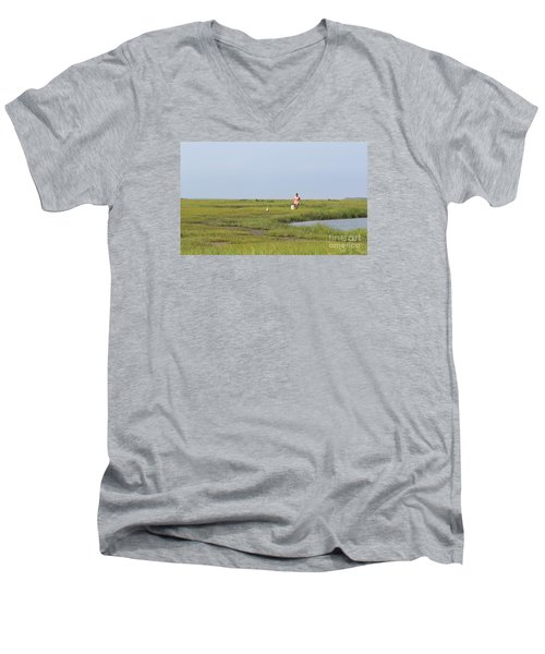 Men's V-Neck T-Shirt featuring the photograph Crabbing At Mystic Island by David Jackson