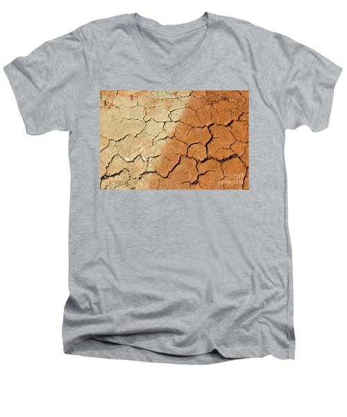 Men's V-Neck T-Shirt featuring the photograph Cracked Soil In Red Shades by Les Palenik