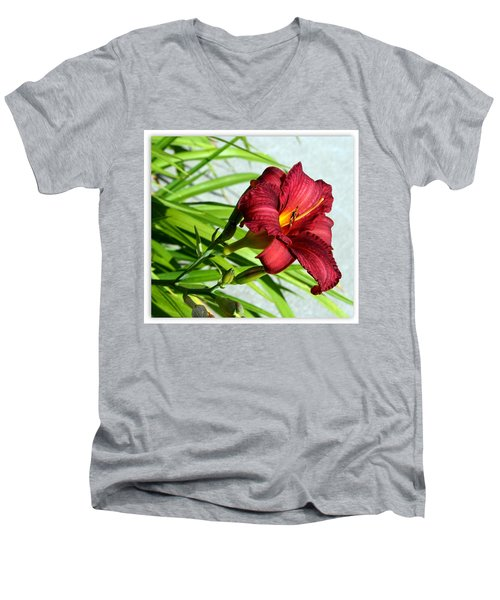 Cranberry Colored Lily Men's V-Neck T-Shirt