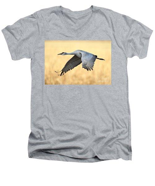 Crane Over Golden Field Men's V-Neck T-Shirt