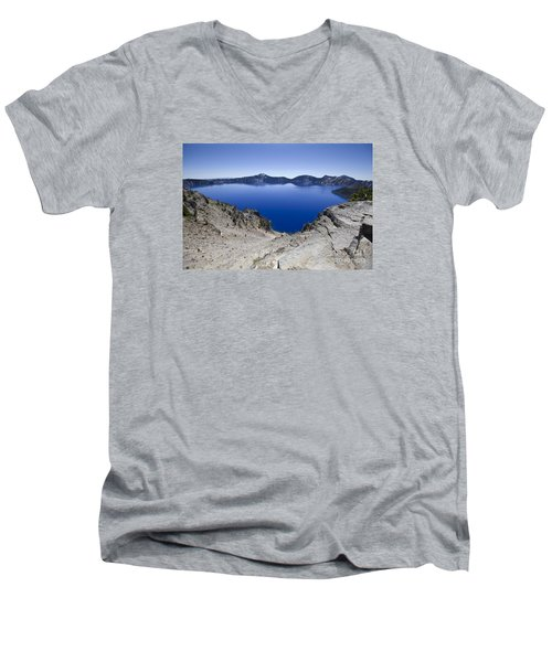 Crater Lake Men's V-Neck T-Shirt by David Millenheft