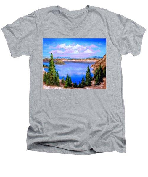 Crater Lake Oregon Men's V-Neck T-Shirt by Patrice Torrillo
