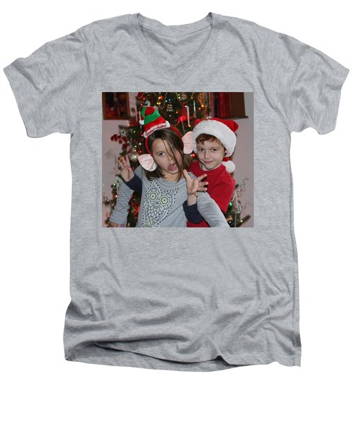 Crazy Christmas Men's V-Neck T-Shirt by Denise Romano