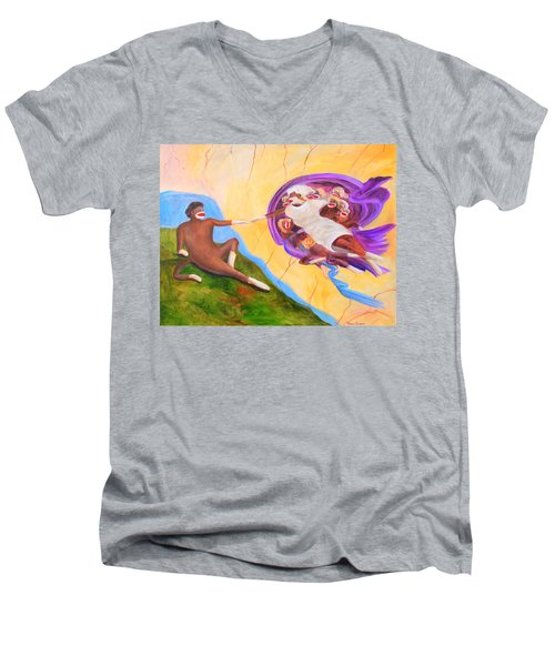 Creation Of A Sock Monkey Men's V-Neck T-Shirt