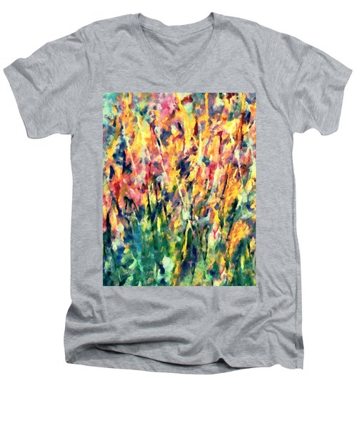 Crescendo Of Spring Abstract Men's V-Neck T-Shirt
