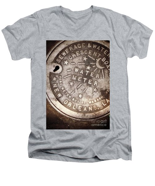 Crescent City Water Meter Men's V-Neck T-Shirt by Valerie Reeves