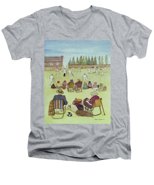 Cricket On The Green, 1987 Watercolour On Paper Men's V-Neck T-Shirt by Gillian Lawson