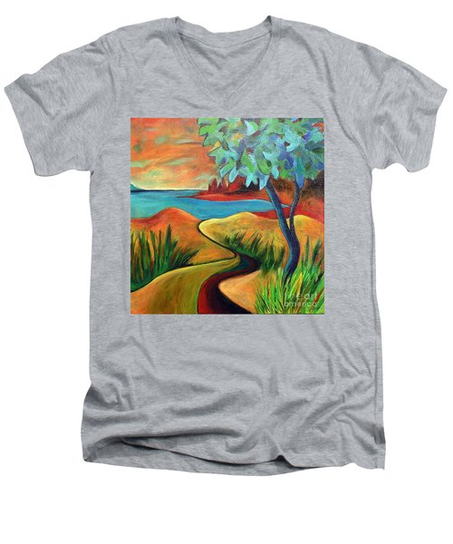 Crimson Shore Men's V-Neck T-Shirt by Elizabeth Fontaine-Barr
