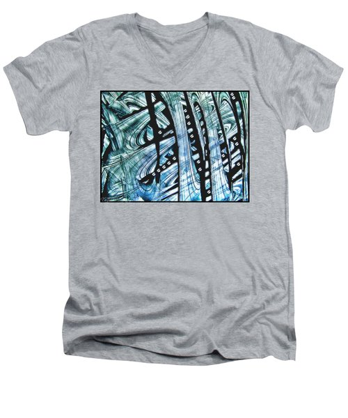 Criss Cross Lines Abstract Alcohol Inks Men's V-Neck T-Shirt