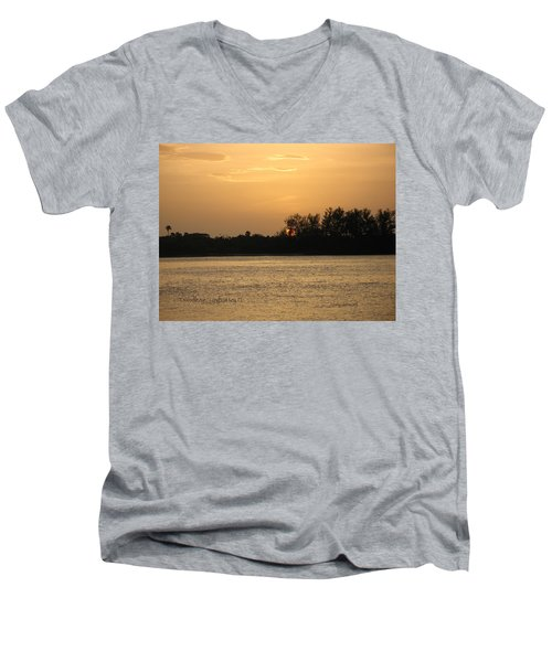 Men's V-Neck T-Shirt featuring the photograph Crocodile Eye by Kathy Barney