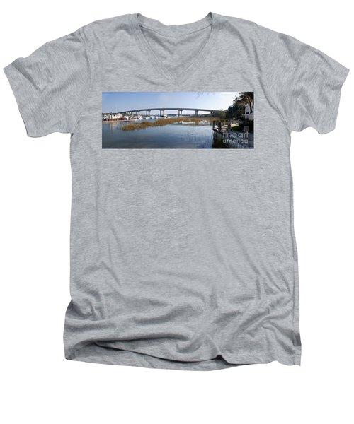 Cross Island Bridge Hilton Head Men's V-Neck T-Shirt