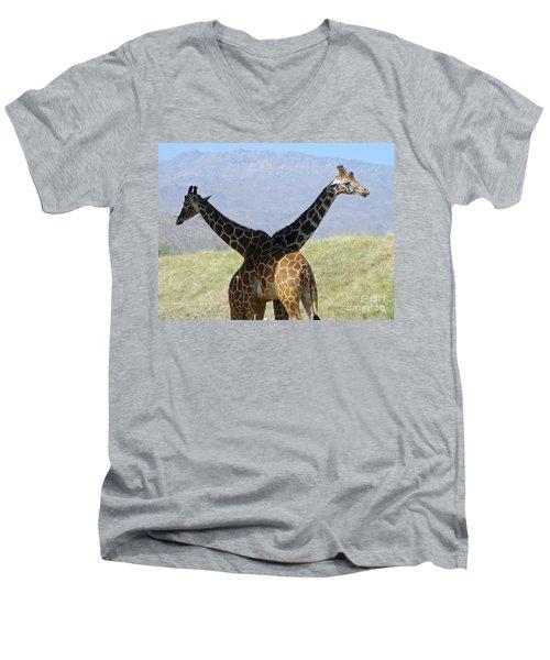 Crossed Giraffes Men's V-Neck T-Shirt by Phyllis Kaltenbach