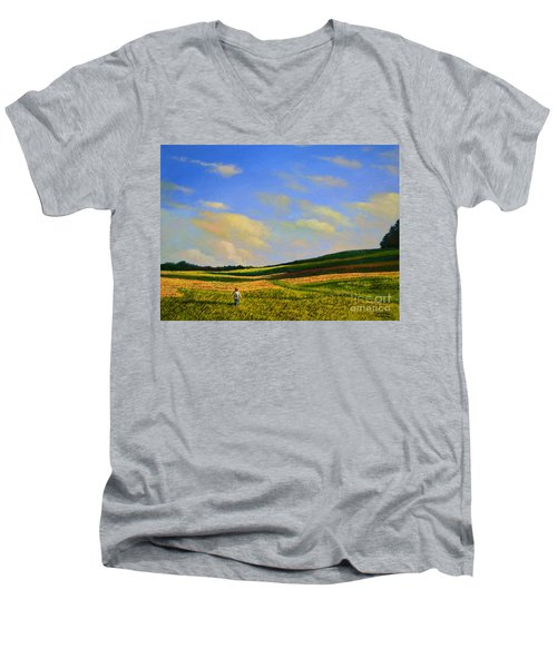 Crossing The Field Men's V-Neck T-Shirt