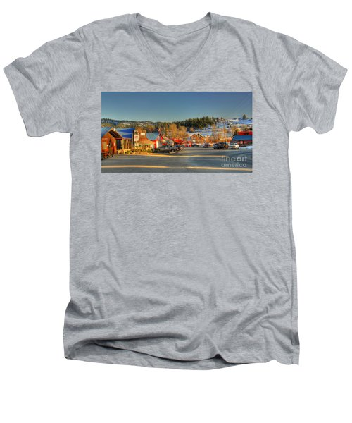 Men's V-Neck T-Shirt featuring the photograph Crouch Main St by Sam Rosen