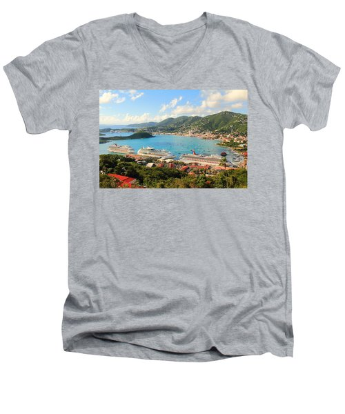 Cruise Ships In St. Thomas Usvi Men's V-Neck T-Shirt