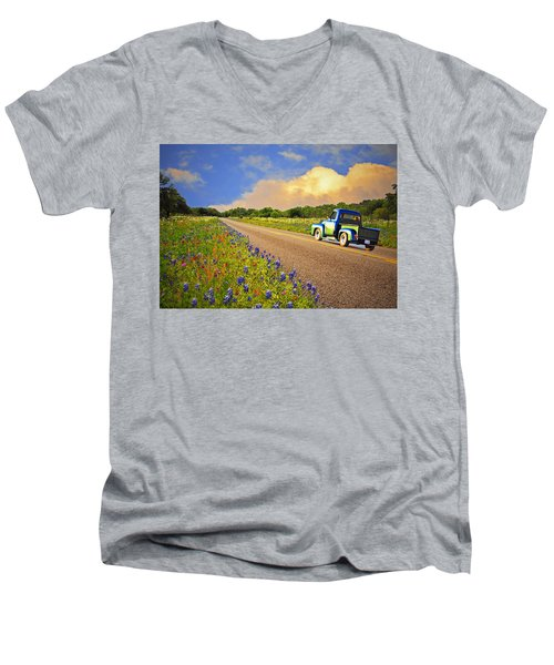 Crusin' The Hill Country In Spring Men's V-Neck T-Shirt