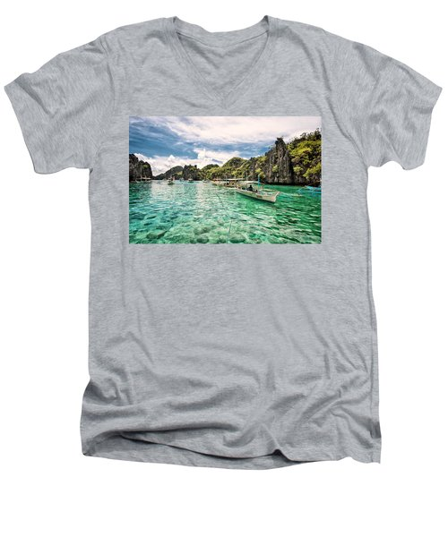 Crystal Water Fun Land Men's V-Neck T-Shirt by John Swartz
