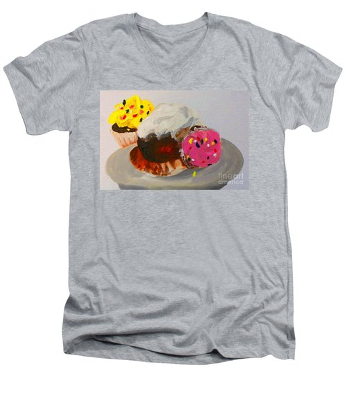 Men's V-Neck T-Shirt featuring the painting Cupcakes by Marisela Mungia