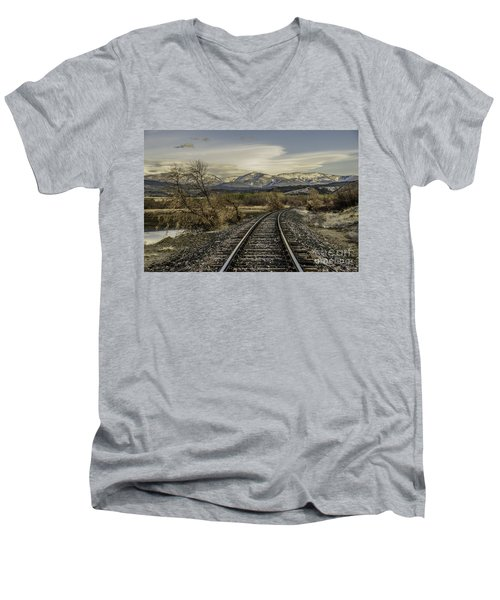 Curve In The Tracks Men's V-Neck T-Shirt